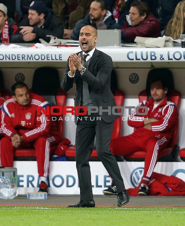 08.04.2015, BayArena, Leverkusen, DFB Pokal, Bayer 04 Leverkusen vs. Bayern M&uuml;nchen<br /> Trainer Josep Guardiola (M&uuml;nchen)<br /> Foto &copy; nordphoto /  Bratic