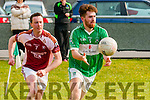 Mike Griffin (Na Gael) in action with Tom Culloty (Scartaglin)  in the 4th Div in the 1st round of the Credit Union County League on Sunday at Na Gael GAA grounds,Tralee.
