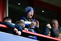 A Bath Rugby fan in the crowd shouts his support. Anglo-Welsh Cup Final, between Bath Rugby and Exeter Chiefs on March 30, 2018 at Kingsholm Stadium in Gloucester, England. Photo by: Matt Impey / Wired Photos for Onside Images