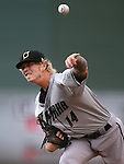 Omaha Storm Chasers' John Lamb pitches against the Reno Aces, in Reno, Nev., on Sunday, Aug. 24, 2014.<br /> Photo by Cathleen Allison