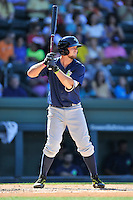 Third baseman David Thompson (8) of the Columbia Fireflies bats in a game against the Greenville Drive on Sunday, April 24, 2016, at Fluor Field at the West End in Greenville, South Carolina. Greenville won, 5-1. (Tom Priddy/Four Seam Images)