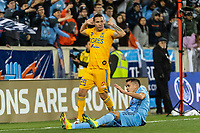 HARRISON, NJ - MARCH 11: Jesus Duenas #29 of Tigres UANL, Jesus Medina #19 of NYCFC during a game between Tigres UANL and NYCFC at Red Bull Arena on March 11, 2020 in Harrison, New Jersey.