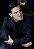 Calcio, Serie A: Genova, Stadio Luigi Ferraris, 24 settembre 2017. <br /> Milan's coach Vincenzo Montella waits for the start of the Italian Serie A football match between Sampdoria and Milan at Genova's Luigi Ferraris stadium. September 24, 2017.<br /> UPDATE IMAGES PRESS/Isabella Bonotto