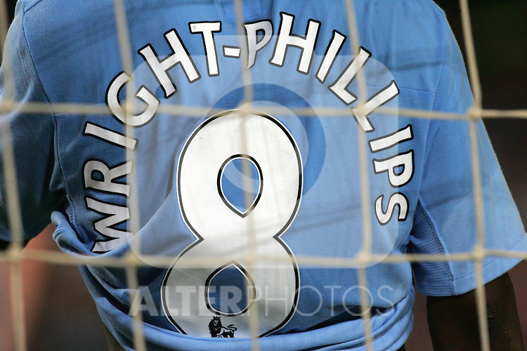 A detailed view of Shaun Wright-Phillips shirt through the Manchestr City goal during the Joan Gamper Trophy match between Barcelona and Manchester City at the Camp Nou Stadium on August 19, 2009 in Barcelona, Spain. Manchester City won the match 1-0.
