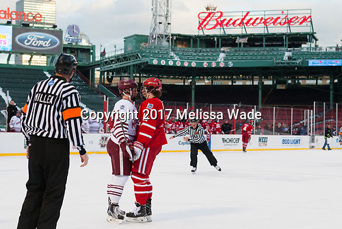 Shane Bear (UMass - 24), Patrick Curry (BU - 11) - The Boston University Terriers defeated the University of Massachusetts Minutemen 5-3 on Sunday, January 8, 2017, at Fenway Park in Boston, Massachusetts.The Boston University Terriers defeated the University of Massachusetts Minutemen 5-3 on Sunday, January 8, 2017, at Fenway Park.