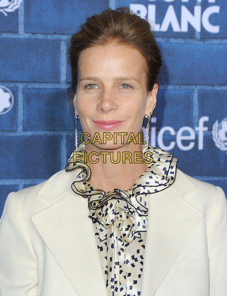Rachel Griffiths.at The Montblanc and UNICEF Pre-Oscar Brunch to Celebrate Their Limited Edition Collection with Special Guest Hilary Swank held at Hotel Bel Air in Beverly Hills, California, USA, .February 23rd 2013..portrait headshot white blazer jacket print black ruffle collar shirt top .CAP/DVS.©Debbie VanStory/Capital Pictures.