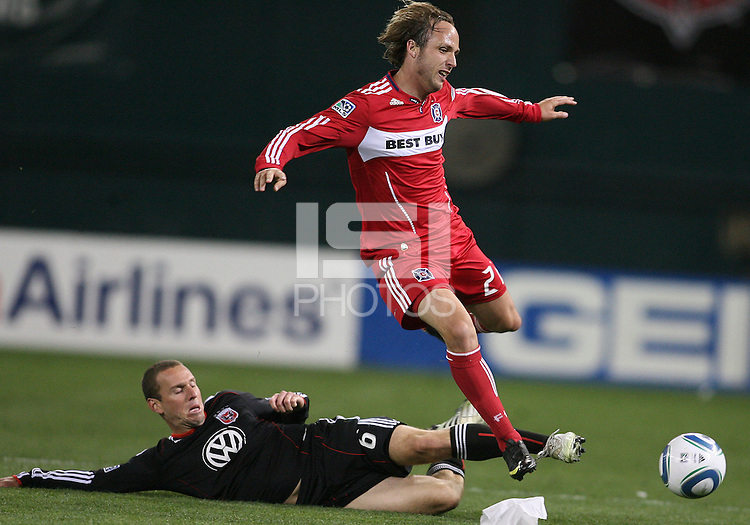 Kurt Morsink #6 of D.C. United slides the ball away from Justin Mapp #21 of the Chicago Fire during an MLS match on April 17 2010, at RFK Stadium in Washington D.C.