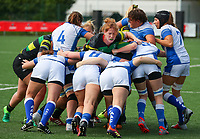 20190928 - Neder Over Hembeek, BELGIUM : Dendermonde's and AAC Amsterdam's players are pictured at the end of a scrum the female rugby match between the Dendermonde RC Women  and AAC Amsterdam Rugby Women, this is the final of the BeNeCup  on Saturday 28th September 2019 at the Nelson Mandela Stadium , Belgium. PHOTO SPORTPIX.BE | SEVIL OKTEM