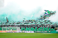 PALMIRA - COLOMBIA, 06-10-2019: Hinchas del Cali animan a su equipo durante partido entre Deportivo Cali y América de Cali por la fecha 15 de la Liga Águila II 2019 jugado en el estadio Deportivo Cali de la ciudad de Palmira. / Fans of Cali cheer for their team during match for the date 11 as part Aguila League II 2019 between Deportivo Cali and America de Cali at Deportivo Cali stadium in Palmira city. Photo: VizzorImage / Nelson Rios / Cont