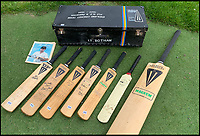 BNPS.co.uk (01202 558833)<br /> Pic JohnGoodwin/BNPS<br /> <br /> Along with the historic willow, Feranley is also selling Botham's kit bag from the 1983/84 winter tour to New Zealand and Pakistan.<br /> <br /> Legendary bat maker is selling up his historic collection of willow wonders.<br /> <br /> A collection of cricket bats that were used by some of finest players of all-time have been put up for sale by the man who crafted them with his own hands.<br /> <br /> Duncan Fearnley, 79, is best known for producing bats for legendary England all-rounder Ian Botham throughout his illustrious career.<br /> <br /> He also created hand-made blades for the likes of Viv Richards, Clive Lloyd and Indian hero Sunil Gavaskar, all featuring his famous 'three stump' logo.<br /> <br /> At the end of a season the bats were often donated back to him by generous players and he has now decided to part with a number of them.