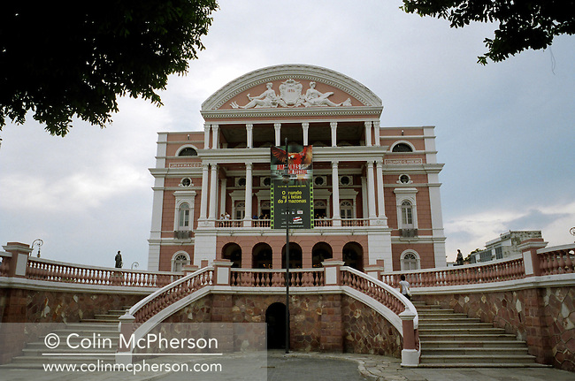 The opera house in the centre of Manaus, the principal city in the Amazon. The opera house was built in the 1920s at a time when the city experienced an economic boom due to the rubber exporting industry. At that time Manaus was known as the 'Paris of the Amazon' but when the rubber industry declined so did the fortunes of the city whose population grew steadily to over two million by the end of the millennium.