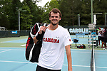 CHAPEL HILL, NC - MAY 13: South Carolina's Sam Swank. The University of North Carolina Tar Heels hosted the University of South Carolina Gamecocks on May 13, 2017, at The Cone-Kenfield Tennis Center in Chapel Hill, NC in an NCAA Division I Men's College Tennis Tournament second round match. UNC won 4-1.