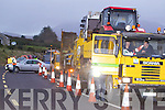 The early morning road closure protest on the on the Annascaul N86 Road on Tuesday morning .