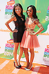 LOS ANGELES, CA- JULY 17: Olympic gymnast Gabby Douglas (R) and sister Arielle Douglas attend Nickelodeon Kids' Choice Sports Awards 2014 at Pauley Pavilion on July 17, 2014 in Los Angeles, California.