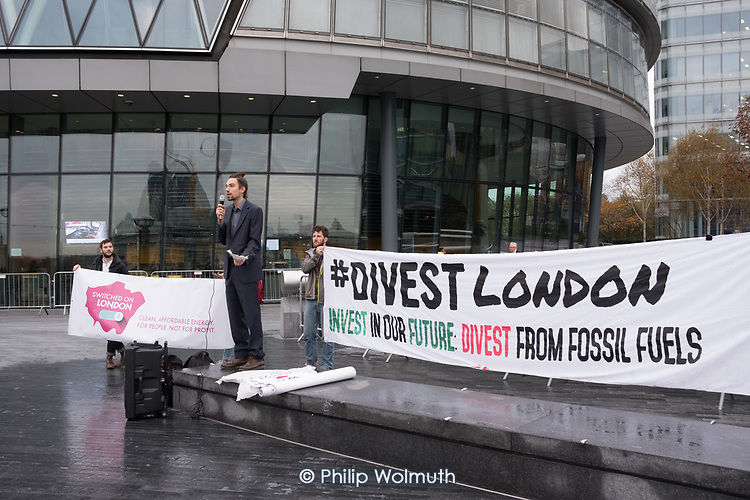 Londoners protest outside City Hall  to demand Sadiq Khan keeps his climate promises.