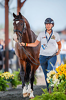 BEL-Laurence Roos presents Fil Rouge during the Horse Inspection for Dressage. 2018 FEI World Equestrian Games Tryon. Tuesday 11 September. Copyright Photo: Libby Law Photography