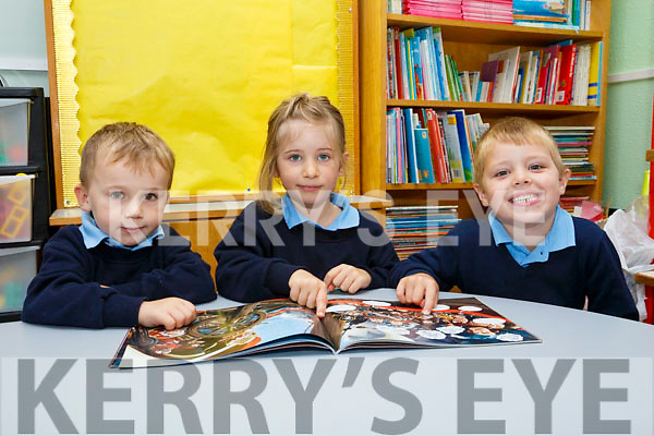 First Day for St. Joseph's NS Castlemaine, Ms. Ann Maria Tyther's junior infants Ryan Giles, Marie Gesswein and Tomas Ryan on Monday