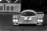 LE MANS, FRANCE - JUNE 16: Klaus Ludwig drives the winning New-Man-Joest Racing Porsche 956B 117 during the 24 Hours of Le Mans FIA World Sports Car Championship race at the Circuit de la Sarthe in Le Mans, France on June 16, 1985.