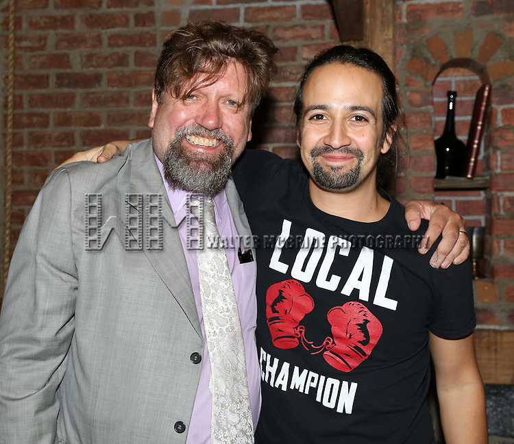 Oskar Eustis and Lin-Manuel Miranda  attend the Broadway Opening Night Actors' Equity Gypsy Robe Ceremony honoring Betsy Struxness of 'Hamilton at the Richard Rodgers Theatre on August 6,, 2015 in New York City.