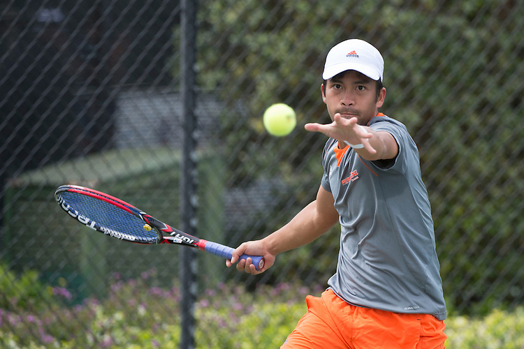 April 25, 2014; San Diego, CA, USA; Pepperdine Waves player Francis Alcantara during the WCC Tennis Championships at Barnes Tennis Center.