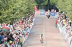 Wales' Elinor Barker crosses the finish line<br /> <br /> Photographer Chris Vaughan/Sportingwales<br /> <br /> 20th Commonwealth Games - Day 8 - Wednesday 30st July 2014 - Cycling - time trial - Glasgow - UK