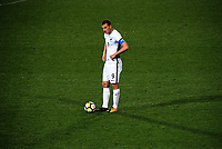 Chris Wood prepares to take a free kick during the first leg of FIFA World Cup Russia 2018 qualifying football match between the New Zealand All Whites and Solomon Islands at QBE Stadium in Albany, New Zealand on Friday, 1 September 2017. Photo: Dave Lintott / lintottphoto.co.nz