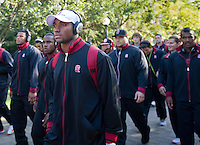 STANFORD, CA - April 14, 2012: The Walk prior to the game between Stanford Cardinal vs San Jose St. at Stanford Stadium at Sanford, CA. Final score Stanford 20, San Jose St. 17..
