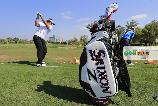 Ricardo Gouveia (POR) on the range during Tuesday's practice day of the 2016 Omega Dubai Desert Classic held at the Emirates Golf Club, Dubai, United Arab Emirates. 2nd February 2016.<br /> Picture: Eoin Clarke | Golffile<br /> <br /> <br /> All photos usage must carry mandatory copyright credit (&copy; Golffile | Eoin Clarke)