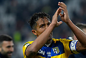2nd February 2019, Allianz Stadium, Turin, Italy; Serie A football, Juventus versus Parma; Bruno Alves  of Parma celebrates with the supporters after drawing 3-3 with Juventus