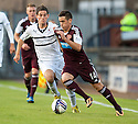Hearts' Jamie Walker gets away from Raith Rovers' Kevin Moon.