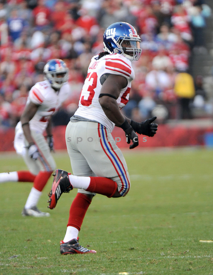 GREG JONES, of the New York Giants, in action during the Giants game against the San Francisco 49ers on November 13, 2011 at Candlestick Park in San Francisco, CA. The 49ers beat the Giants 27-20.