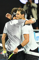 January 29, 2017: Roger Federer of Switzerland celebrates after winning the Men's Final against Rafael Nadal of Spain on day 14 of the 2017 Australian Open Grand Slam tennis tournament in Melbourne, Australia. Photo Sydney Low
