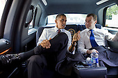 United States President Barack Obama and President Dmitry Medvedev of the Russian Federation ride together for lunch at Ray's Hellburger in Arlington, Virginia, Thursday, June 24, 2010.    .Mandatory Credit: Pete Souza - White House via CNP
