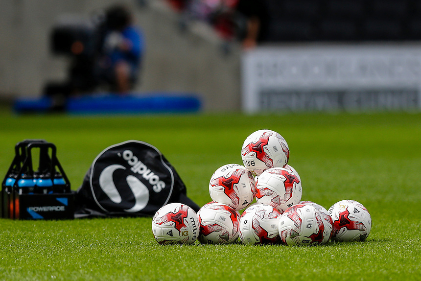 Mitre balls piled up before kick off<br /> <br /> Photographer Craig Mercer/CameraSport<br /> <br /> Football - The Football League Sky Bet Championship - Milton Keynes Dons v Preston North End - Saturday 15th August 2015 - Stadium:mk - Milton Keynes<br /> <br /> &copy; CameraSport - 43 Linden Ave. Countesthorpe. Leicester. England. LE8 5PG - Tel: +44 (0) 116 277 4147 - admin@camerasport.com - www.camerasport.com