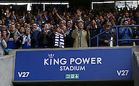 Leicester City fans celebrate at full time during the Barclays Premier League match between Leicester City and Swansea City played at The King Power Stadium, Leicester on 24th April 2016