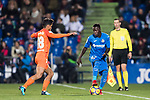 Amath Ndiaye Diedhiou (R) of Getafe CF is tackled by Roberto Jose Rosales Altuve of Malaga CF during the La Liga 2017-18 match between Getafe CF and Malaga CF at Coliseum Alfonso Perez on 12 January 2018 in Getafe, Spain. Photo by Diego Gonzalez / Power Sport Images