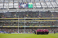 England team huddle before the kick off of the RBS 6 Nations match between Ireland and England at the Aviva Stadium, Dublin on Sunday 10 February 2013 (Photo by Rob Munro)