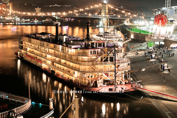 An Elegant River Boat At Night During The Tall Stacks Festival In Cincinnati, Ohio