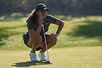 Cheyenne Woods (USA) lines up her putt on 2 during round 1 of the 2018 KPMG Women's PGA Championship, Kemper Lakes Golf Club, at Kildeer, Illinois, USA. 6/28/2018.<br /> Picture: Golffile | Ken Murray<br /> <br /> All photo usage must carry mandatory copyright credit (&copy; Golffile | Ken Murray)