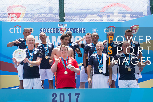 playonPROS (in blue) won the Masters Tournament Plate Final while Discovery Bay (in white) is the runner-up, during the HKFC Citi Soccer Sevens 2017 on 28 May 2017 at the Hong Kong Football Club, Hong Kong, China. Photo by Marcio Rodrigo Machado / Power Sport Images