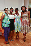 (Left to right) Nana Eyeson-Akiwowo, Kehinde Akiwowo, Nikki Ogunnaike, and Lola Ogunnaike posing  the African Health Now - Fashion Fete event, at the Tracy Reese store on 641 Hudson Street, June 20, 2013.