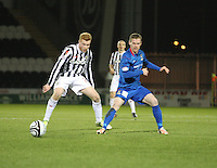 Conor Newton (left) and Billy McKay watch the ball in the St Mirren v Inverness Caledonian Thistle Clydesdale Bank Scottish Premier League match played at St Mirren Park, Paisley on 30.1.13.