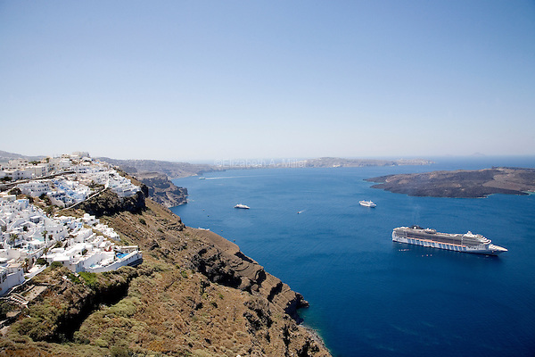 The caldera with cruise ships in Santorini, Greece on July 3, 2013.