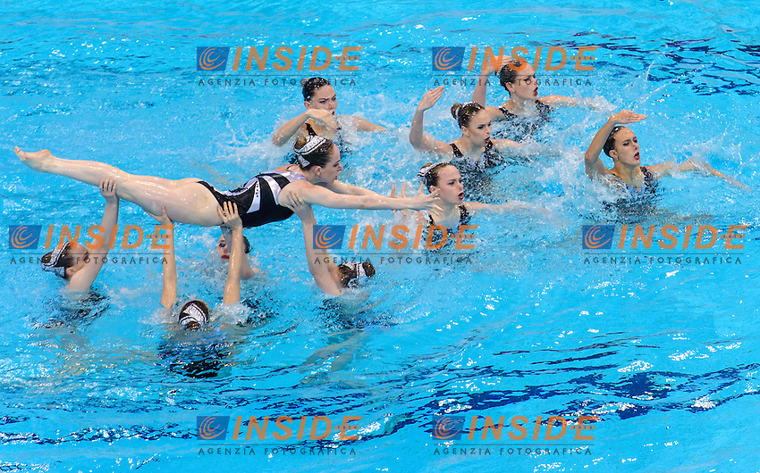 GREAT BRITAIN GBR <br /> FEDERICI Olivia CLARK Katie RANDALL Hannah <br /> CRITCHLEY Emma THORPE Isabelle BROWN Jorja <br /> BRADLEY-SMITH Phoebe JAMES Zoe COOPER Danielle HOCKIN Lara <br /> Free Combination Final <br /> London, Queen Elizabeth II Olympic Park Pool <br /> LEN 2016 European Aquatics Elite Championships <br /> Synchronized Swimming <br /> Day 04 12-05-2016<br /> Photo Andrea Staccioli/Deepbluemedia/Insidefoto