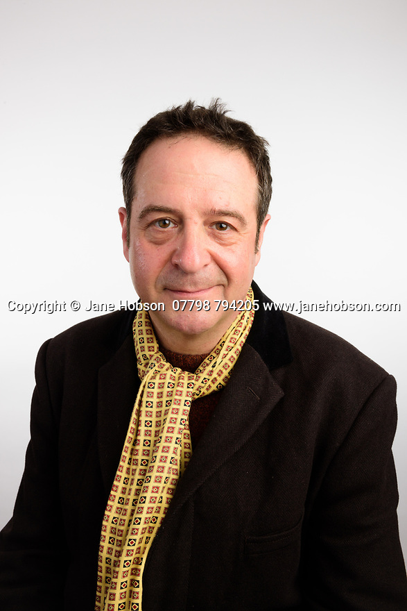 London, UK. 04.04.2017. Mark Thomas, comedian, studio shoot, in North London, for Edinburgh Fringe 2017 publicity materials. Photograph © Jane Hobson.