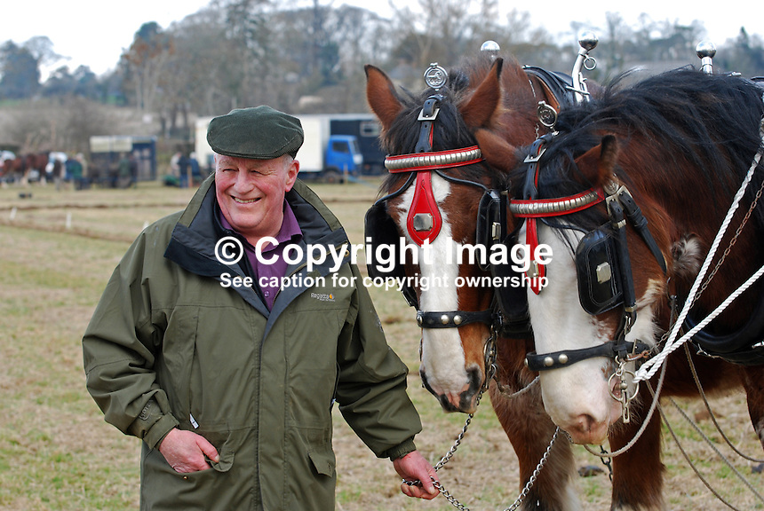Ploughing enthusiast and team of ploughing horses. Taken 28 February 2009 at 95th annual ploughing match of Mullahead & District Ploughing Society, Co Down, N Ireland, UK, 200902281882..Copyright Image from Victor Patterson, 54 Dorchester Park, Belfast, UK, BT9 6RJ..Tel: +44 28 9066 1296.Mob: +44 7802 353836.Voicemail +44 20 8816 7153.Skype: victorpattersonbelfast.Email: victorpatterson@mac.com.Email: victorpatterson@ireland.com (back-up)..IMPORTANT: If you wish to use this image or any other of my images please go to www.victorpatterson.com and click on the Terms & Conditions. Then contact me by email or phone with the reference number(s) of the image(s) concerned.