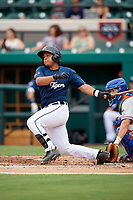 Lakeland Flying Tigers catcher Arvicent Perez (13) follows through on a swing during the first game of a doubleheader against the St. Lucie Mets on June 10, 2017 at Joker Marchant Stadium in Lakeland, Florida.  Lakeland defeated St. Lucie 6-5 in fourteen innings.  (Mike Janes/Four Seam Images)