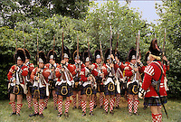 Freehold, New Jersey.At the reenactment of the Battle of Monmouth (225th anniv), a Scottish company of British Redcoats