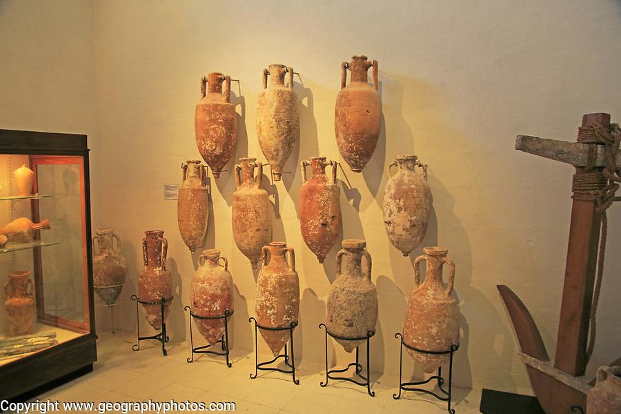 Roman amphora wine jugs, Archaeological museum, Rabat Victoria, Gozo, Malta