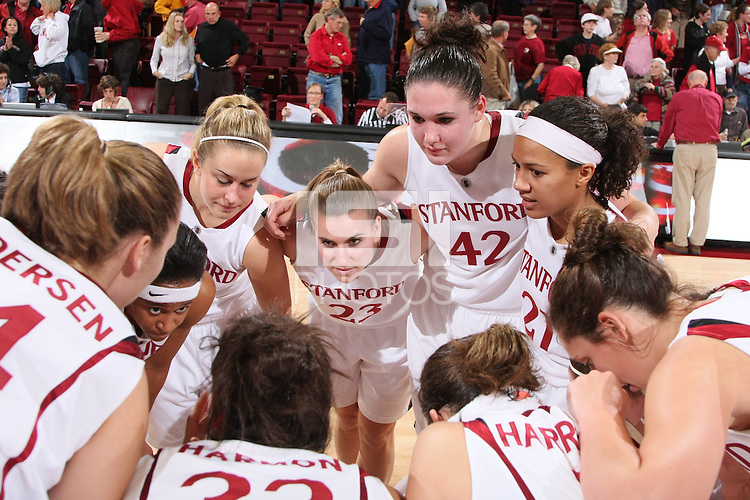 STANFORD, CA - NOVEMBER 20:  Melanie Murphy, JJ Hones, Jeanette Pohlen, Sarah Boothe, Rosalyn Gold-Onwude, Jillian Harmon, and Michelle Harrison of the Stanford Cardinal during Stanford's 84-46 win over the University of New Mexico on November 20, 2008 at Maples Pavilion in Stanford, California.